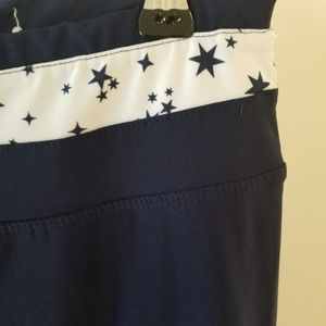 Marika Pants - MARIKA leggings Navy Stars & Mesh. Ankle workout